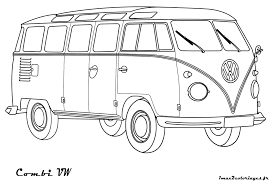volkswagen bus clipart bus coloring page