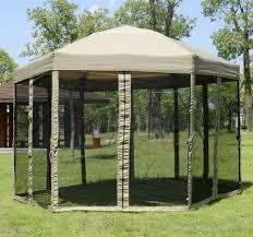 Portable Patio Gazebo Portable Hexagonal Garden Canopy W Mesh Netting Outdoor Patio