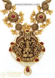 antique necklace pendant images 22k gold long 39 lakshmi 39 antique necklace drop earrings set with jpg