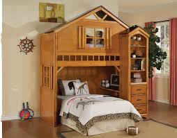 white wooden bunk bed with castle form combined pink roof and f