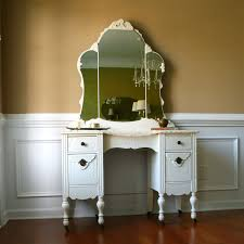 White Distressed Desk by Contemporary White Solid Wood Make Up Table With Folding Mirror