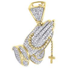 necklace diamond ebay images Diamond praying hands rosary pendant mens 10k yellow gold round jpg
