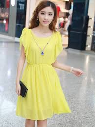 dress with necklace images Fashion yellow pure color ruffles short sleeve dress with necklace JPG