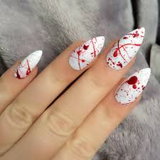 h1 doobys nails blood splatter stiletto 24 hand painted false