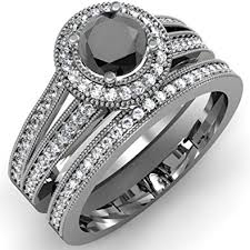 black diamond bridal set 1 25 carat ctw 14k white gold white black diamond