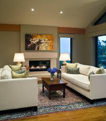 sparkling contemporary fireplace surrounds with open concept green