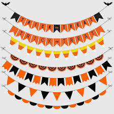 halloween classic bunting banners cliparts pack halloween party