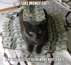 Rich Cat Meme - like money cat and you will get rich in the next 3 days wanna