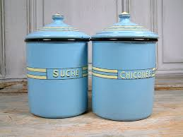 enamel kitchen canisters vintage deco enamel kitchen canisters in baby blue with
