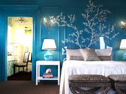 bedroom chilling blue and white bedroom ideas with floral wall