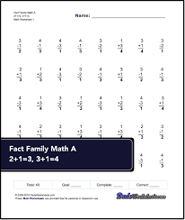 these 40 problem addition and subtraction fact family worksheets