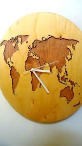 World Map Wood Wall Art by World Map Clock Laser Cut Wall Clock Modern Woodyshop