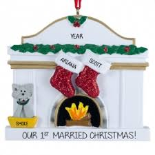our 1st married with cat fireplace ornament