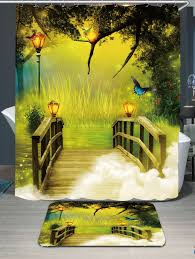Forest Rug Waterproof Footbridge Forest Printed Shower Curtain And Rug Green