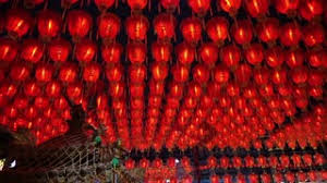 red chinese lantern hanging under roof buddhist temple stock