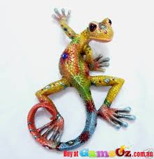 colourful gecko lizard ornament resin