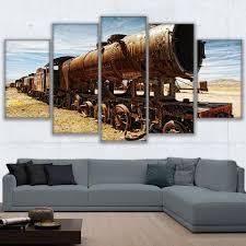Retro Living Room Art Wall Art Canvas Painting Frame Hd Prints Modular Living Room Retro