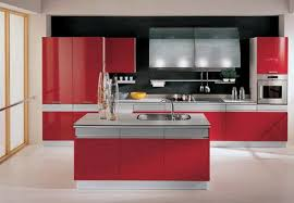 comfortable red high gloss kitchen cabinet inspiration with mosaic