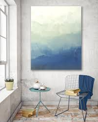 Home Interiors Paintings Blue Ombre Modern Abstract Painting Bedroom Wall Decor Living Room