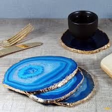 original blue gold plated agate coasters png