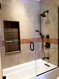 Glass Shelving Bathroom by Small Bathrooms With White Tub And Brown Toiletris Glass Shelves
