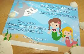 shark birthday invitations leslie earnest studios new mermaid u0026 shark party package