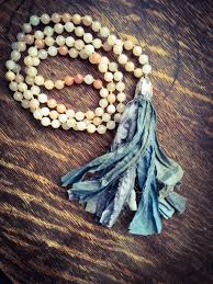 boho stone necklace images Romantic necklace shabby necklace boho chic sari silk tassel jpg