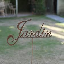deco plaque metal inscription jardin déco de jardin en métal pancarte et