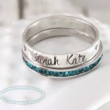stackable birthstone ring hammered stacked name rings s jewelry personalized gift