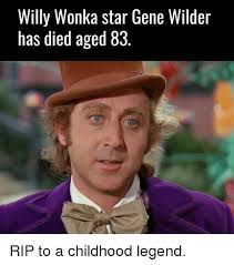 Gene Meme - willy wonka star gene wilder has died aged 83 rip to a childhood