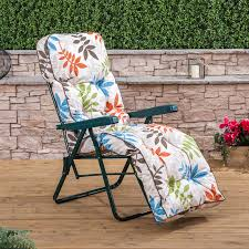Cushions For Reclining Garden Chairs Alfresia Garden Reclining Relaxer Green Adjustable Chair With
