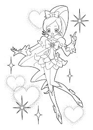 heart catch pretty cure coloring pages for kids printable free