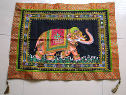 Brocade Home Decor Elephant Sequin Wall Hanging Painted Cotton Tradtional Tapestry