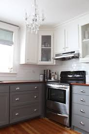 elegant two tone kitchen cabinets come with dark brown grey colors