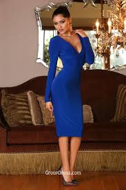 black long sleeve v neck sheath knee length prom dress open