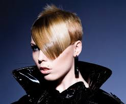 modern short hair design and hair color applied with light and shadow
