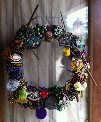 mardi gras bead wreath from trash to treasure upcycling new orleans mardi gras