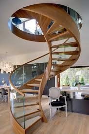 Wooden Spiral Stairs Design Contemporary Spiral Staircase In Wood And Glass