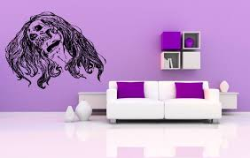 wall decals stickers home decor home furniture diy wall vinyl sticker decals mural room design art hair scull girl zombie bo643