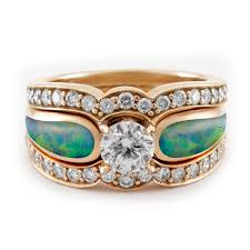opal and diamond engagement rings blushing sea radiance tier 4 diamond opal gold engagement ring