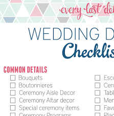 wedding checklist wedding detail checklist every last detail