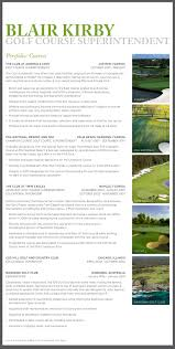 Construction Superintendent Resume Examples by Blair Kirby Golf Course Superintendent