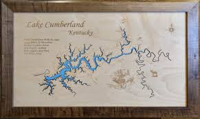 cumberland lake map wood laser cut map of lake cumberland ky topographical