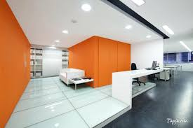 Best Office Design by Comfortable White Orange Wall Colors For Modern Office Design With