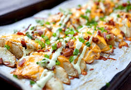 Main Dishes - loaded potato wedges baked and crispy macheesmo