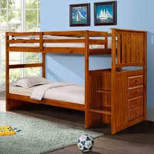 Woodcrest Heartland Twin Over Twin Stairway Bunk Bed Honey - Stairway bunk bed twin over full