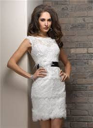 sheath bateau short lace beach wedding dress with black sash feather
