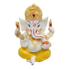 Spiritual Home Decor by Marble Look Hindu God Shri Ganesh Statue Lord Ganesha Idol Bhagwan