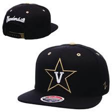 alumni snapback gold snapback hat solid black v front and vanderbilt cursive back