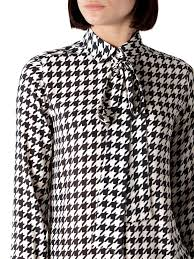 houndstooth blouse lyst hilfiger houndstooth print blouse in black